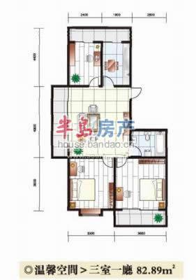 """三室一厅户型图-青岛房产新楼盘-半岛房产""""在青岛买房"""