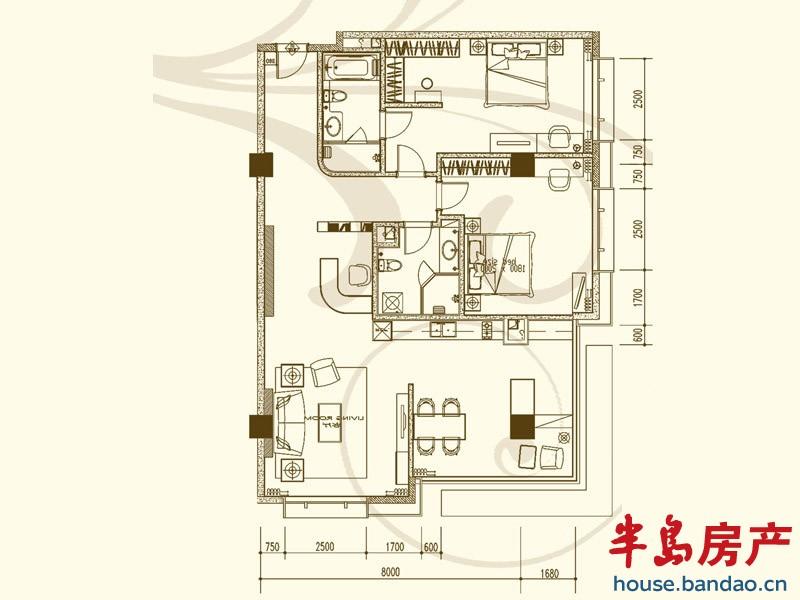 """户型图-嘉尚青庭服务公寓-青岛房产图片-半岛房产""""在!"""