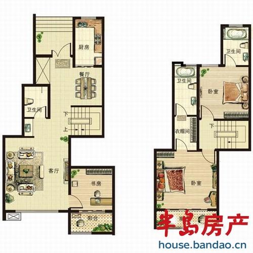青山绿水 约139平复式户型 3室2厅3卫139㎡