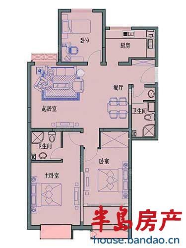 海逸景园 户型图 3室2厅2卫1厨133㎡户型图-青岛房产