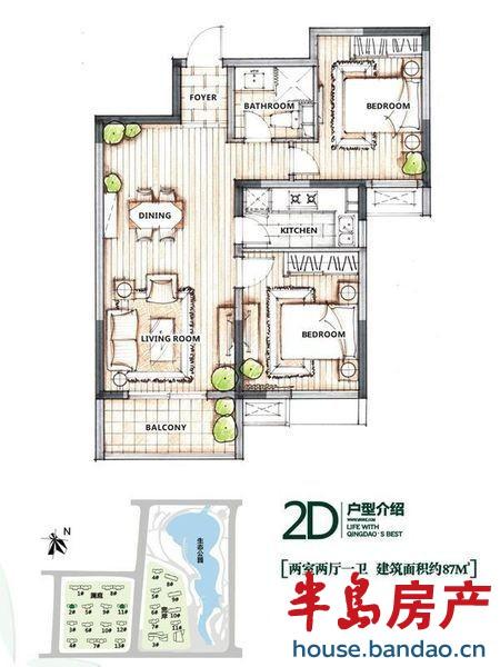 """万科生态城户型户型图-青岛房产新楼盘-半岛房产""""在上"""