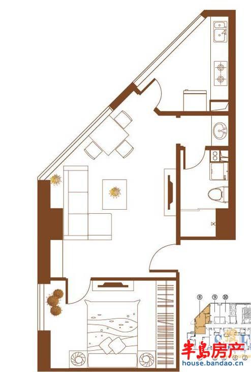 鹏丽南华利源国际公 面积:61.96m2户型图-青岛房产新