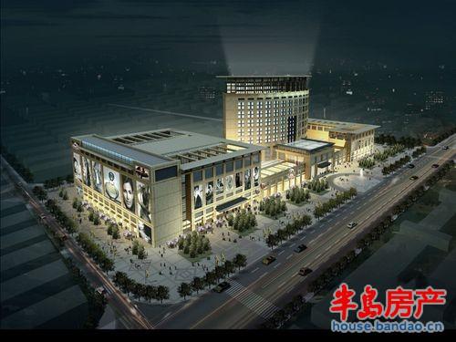 """财富广场夜景图实景图-青岛房产新楼盘-半岛房产""""在上"""