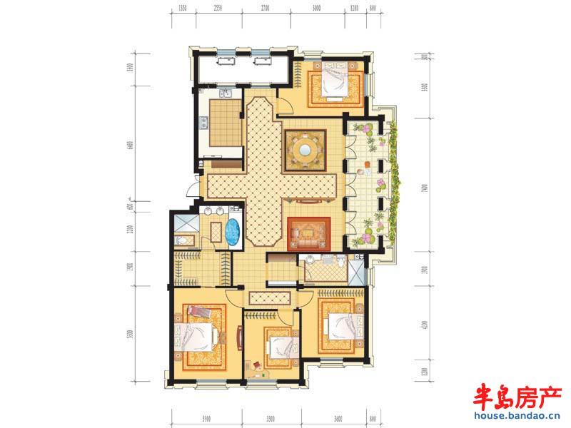 绿城理想之城御园c2户型4室2厅3卫 200户型图-青岛新