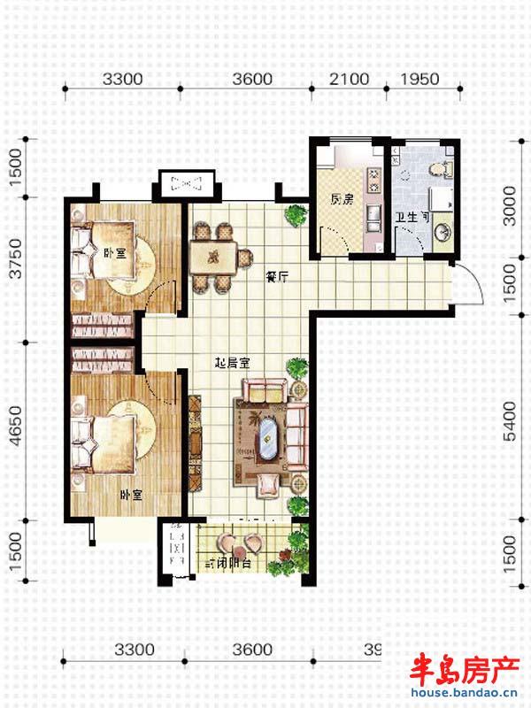 天竺嘉园e户型2室2厅1卫1厨 96户型图-青岛房产新楼盘