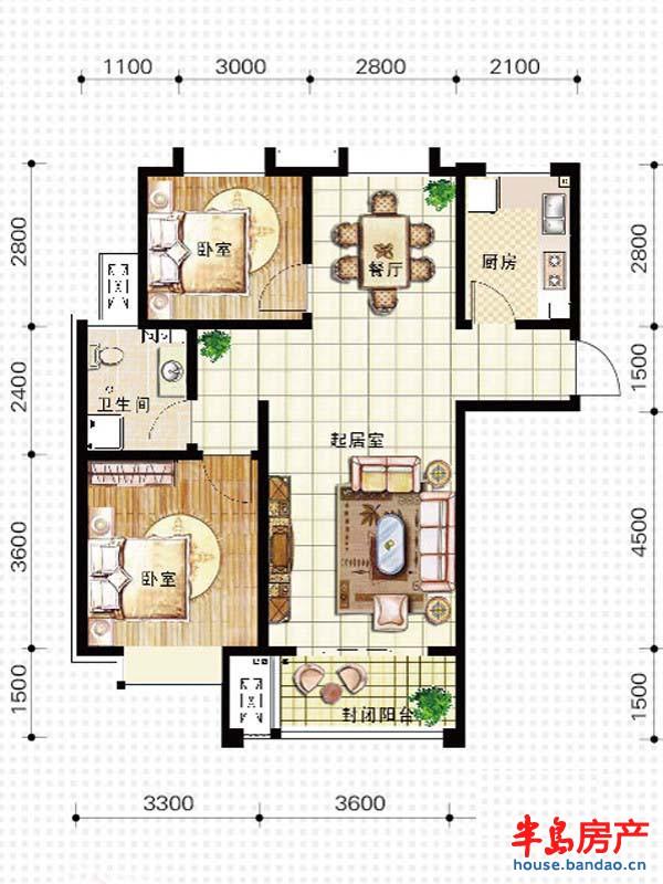 天竺嘉园g户型2室2厅1卫1厨 92户型图-青岛房产新楼盘