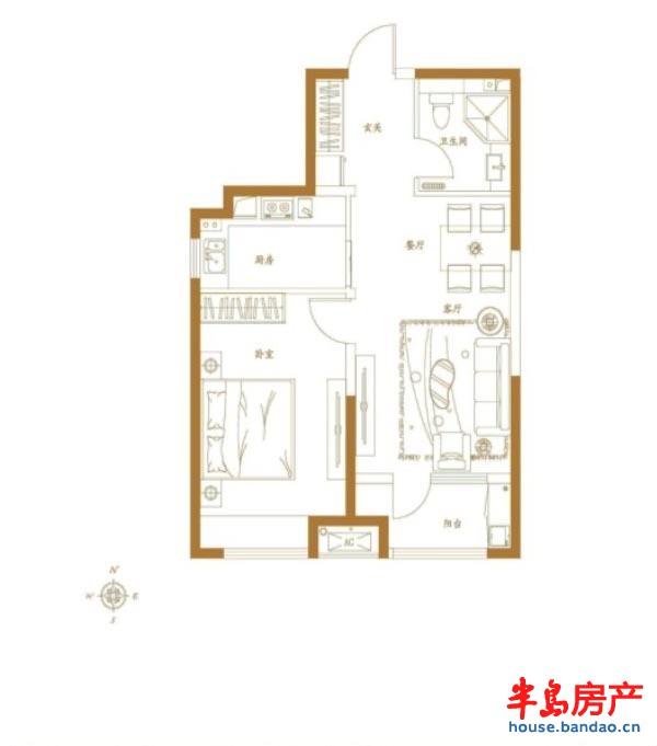 金茂湾d户型1室2厅1卫1厨 70.00㎡户型图-青岛房产新