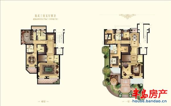 """复式三室五厅四卫户型图-青岛房产新楼盘-半岛房产""""在"""