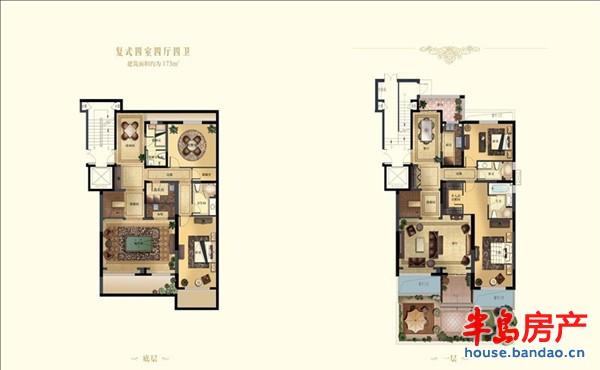 """复式四室四厅四卫户型图-青岛房产新楼盘-半岛房产""""在"""