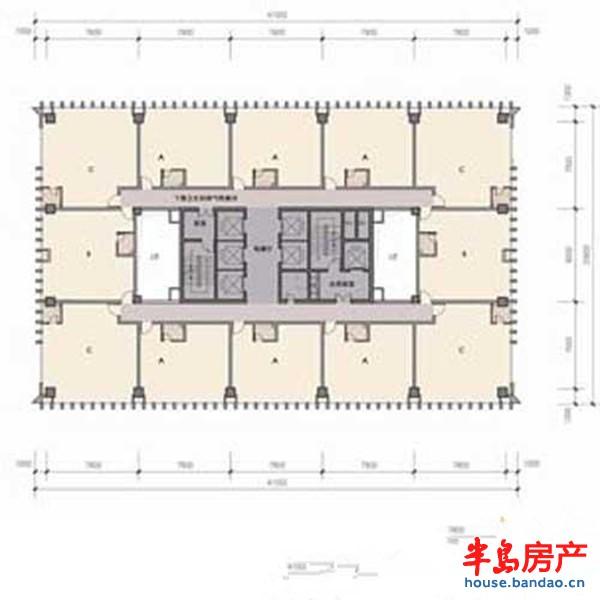 卓越世纪中心·卓越大厦塔楼标准层平面户型图-青岛