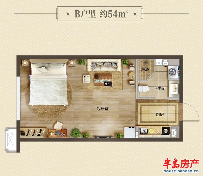 """珑寓b户型 约54平户型图-青岛房产新楼盘-半岛房产""""在"""