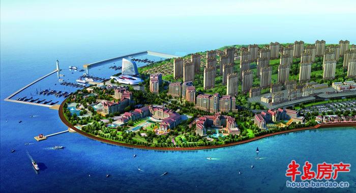 万达青岛东方影都酒店区鸟瞰透视图效果图
