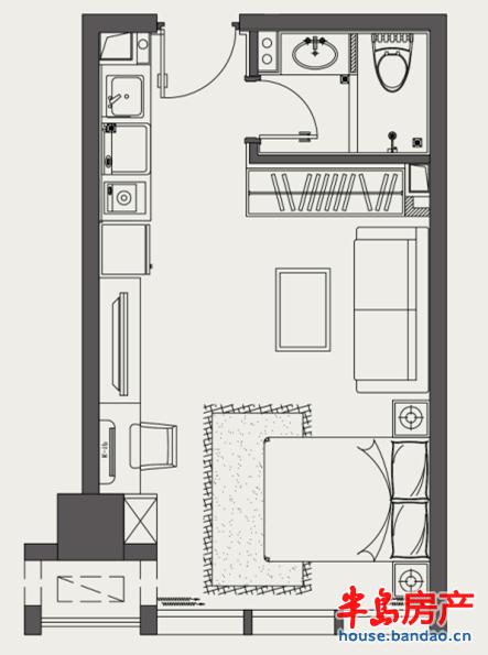 万达公馆 一室一厅一卫 约40㎡户型图-青岛房产新楼盘